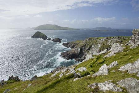 blasket islands: view from cliffs towards blasket islands