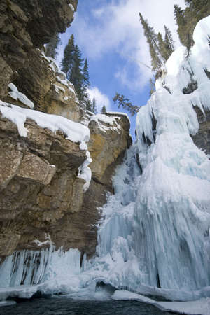 icefall in canyon in winter Stock Photo