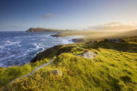아일랜드 해안선, dingle, 아침 햇살에 경치 좋은보기 스톡 콘텐츠