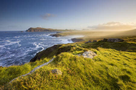 scenic view of irish coastline,dingle, in morning light