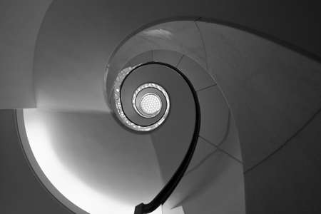 greyscale: spiral staircase abstract greyscale Stock Photo