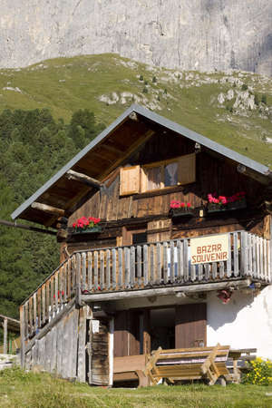 Alpes: traditional house in dolomite alpes Stock Photo