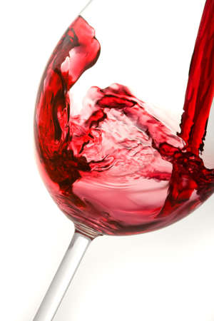 glass of red wine: pouring red wine into wine glass