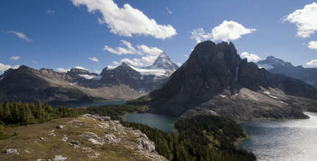 scenic panorama of mount assiniboine with lakes from high up