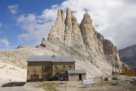 hostel in italian dolomites with famous catinaccio in background