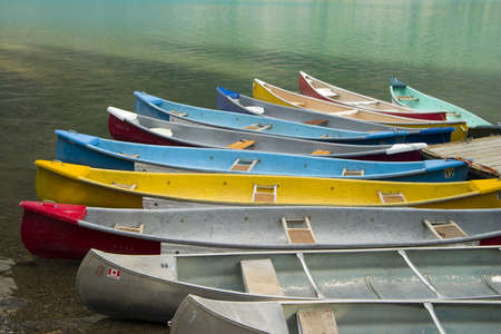 canoes parked at moraine lakeshore
