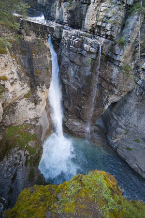 banff national park: waterfall johnston canyon from high viewpoint looking down Stock Photo