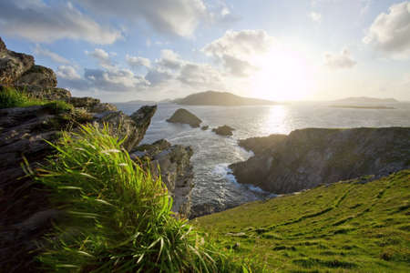 dunquin: storm clearing over irish west coast blasket islands dingle Stock Photo