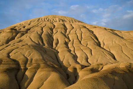 erosion: badlands in dinosaur provincial park showing erosion rills, barren landscape