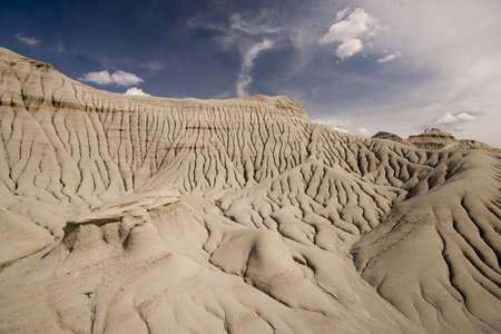 badlands in dinosaur provincial park showing erosion rills, barren landscape