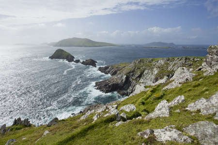 view from cliffs towards blasket islands