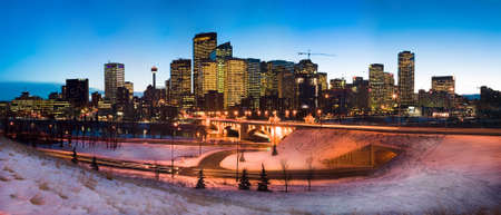 skyline of downtown calgary with snow