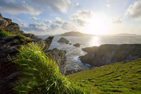 storm clearing over irish west coast blasket islands dingle Stock Photo