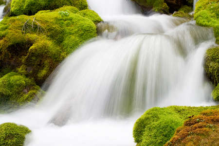 flowing water: little waterfall in forest, long exposure of flowing water  Stock Photo
