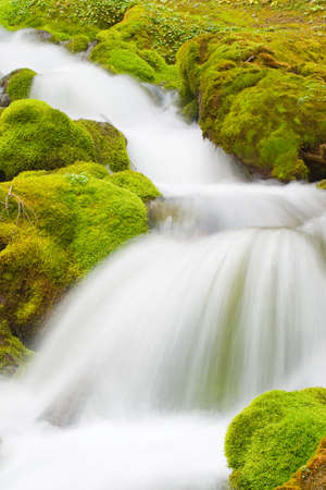 natural waterfall in mountains  photo