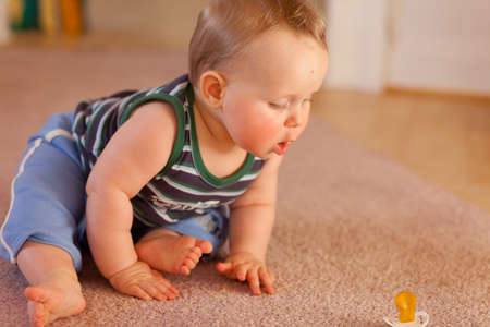 baby determined to reach pacifier,boy,7 months old on carpet Stock Photo - 9434344