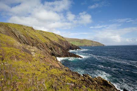 dunquin: scenic view of irish coastline,dingle, in morning light Stock Photo
