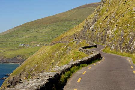 winding touristic slea head drive at irish coast  Stock Photo - 9439296