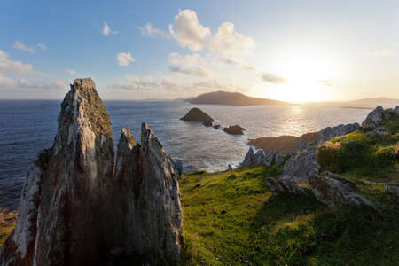 scenic seascape view towards blasket islands on dingle in western ireland Stock Photo - 10753614