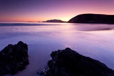 blasket islands: twilight colours on irish beach Stock Photo