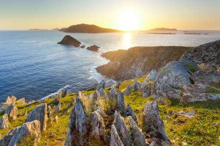 backlit seascape taken from cliffs towards blasket islands on dingle peninsula, ireland Stock Photo - 10753618