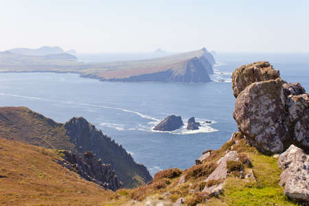 blasket islands: cliffs and ocean view from hiking trail high above, dingle,ireland