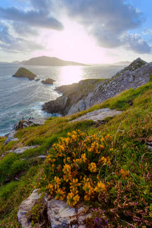 looking from dingle peninsula in western ireland towards blasket islands while sky is clearing. Stock Photo