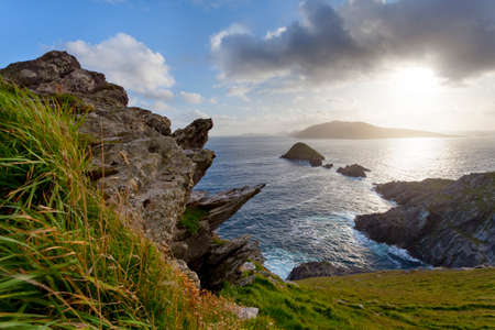 dunquin: looking from dingle peninsula in western ireland  Europe s most westerly point  towards blasket islands while sky is clearing.