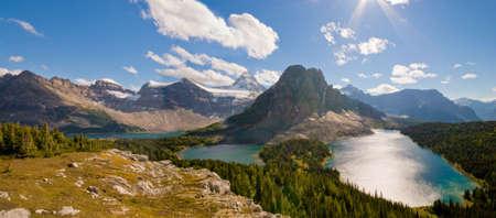 assiniboine: Mount Assiniboine, Sunburst Peak  foreground   in Mt Assiniboine Provincial Park with Cerulean Lake, Sunburst Lake, Lake Magog. Stock Photo