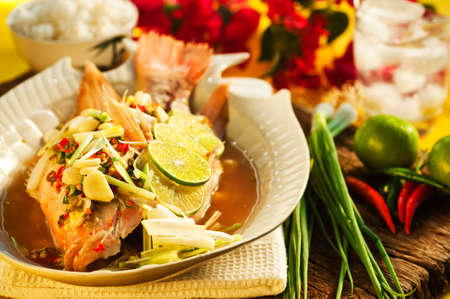 Thai food - Red snapper with garlic, chili, lemon grass and lemon