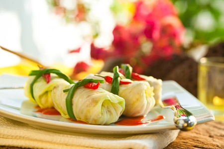 thai pepper: Stuffed Cabbage Stock Photo