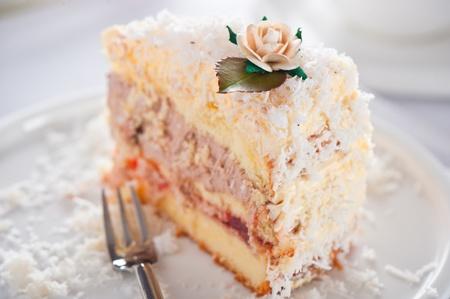 Coconut cake with vanilla and chocolate cream photo