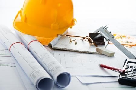 interior designer: House plan blueprints Stock Photo