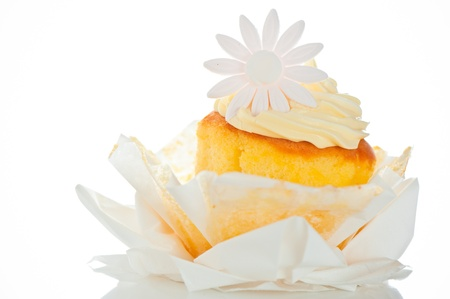 Cupcake with vanilla cream and sugar flower on a white background Stock Photo - 11537102