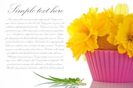 Small bouquet of flowers on an edible content photo