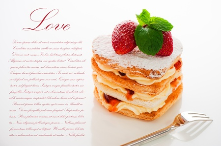 dessert plate: Beautiful decorated cake, heart with strawberry Stock Photo