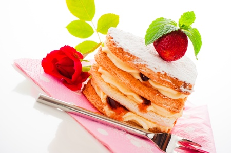 Beautiful decorated cake, heart with strawberry Stock Photo