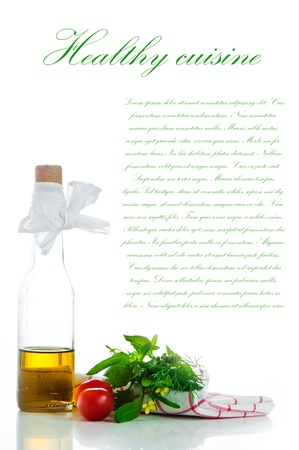 A bottle with olive oil and some herb on white background with a area for you text photo