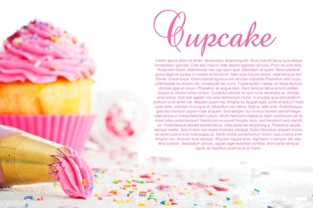 decorating: Cupcake and decorating bag on a white table with colorful sugar pearls on white background