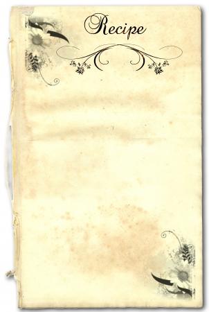 Een pagina uit een oud boek als een recept op een witte achtergrond
