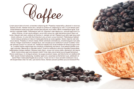 Freshly roasted coffee beans in a coconut bowl on white background as a studio shot photo