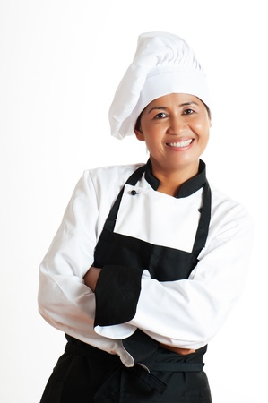 Smiling asian woman as restaurant chef on white background