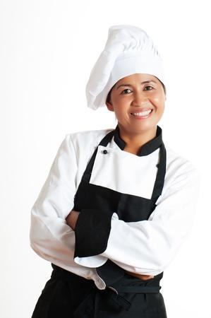 Smiling asiatische Frau als Küchenchef auf weißem Hintergrund Standard-Bild - 14233210