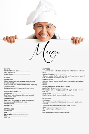 Een mooie Aziatische vrouw Chef-kok met menu van het restaurant leeg bord - met ruimte voor uw tekst. Geà ¯ soleerd op witte achtergrond. Stockfoto
