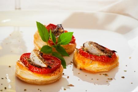 Three small mini pizzas as finger food Stock Photo