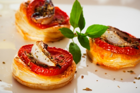 Three small mini pizzas as finger food Stock Photo