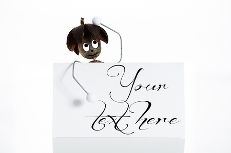 Self made funny figure with white card on white background photo
