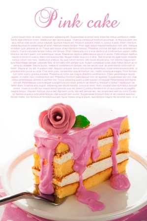 Small piece of three layer vanilla cake with cream and strawberry frosting  Pink rose as decoration on the top  White background photo