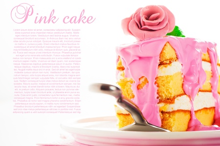 three   layer: Small piece of three layer vanilla cake with cream and strawberry frosting  Pink rose as decoration on the top  White background