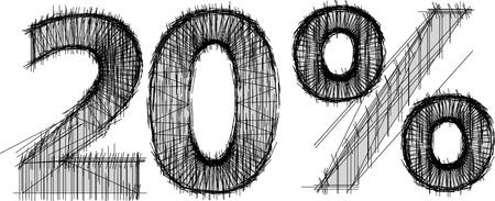 Sketch von 20 Prozent auf weißem Hintergrund Standard-Bild - 15888837